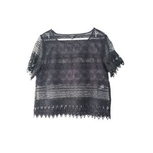 Banana Republic Floral Lace Blouse in Black